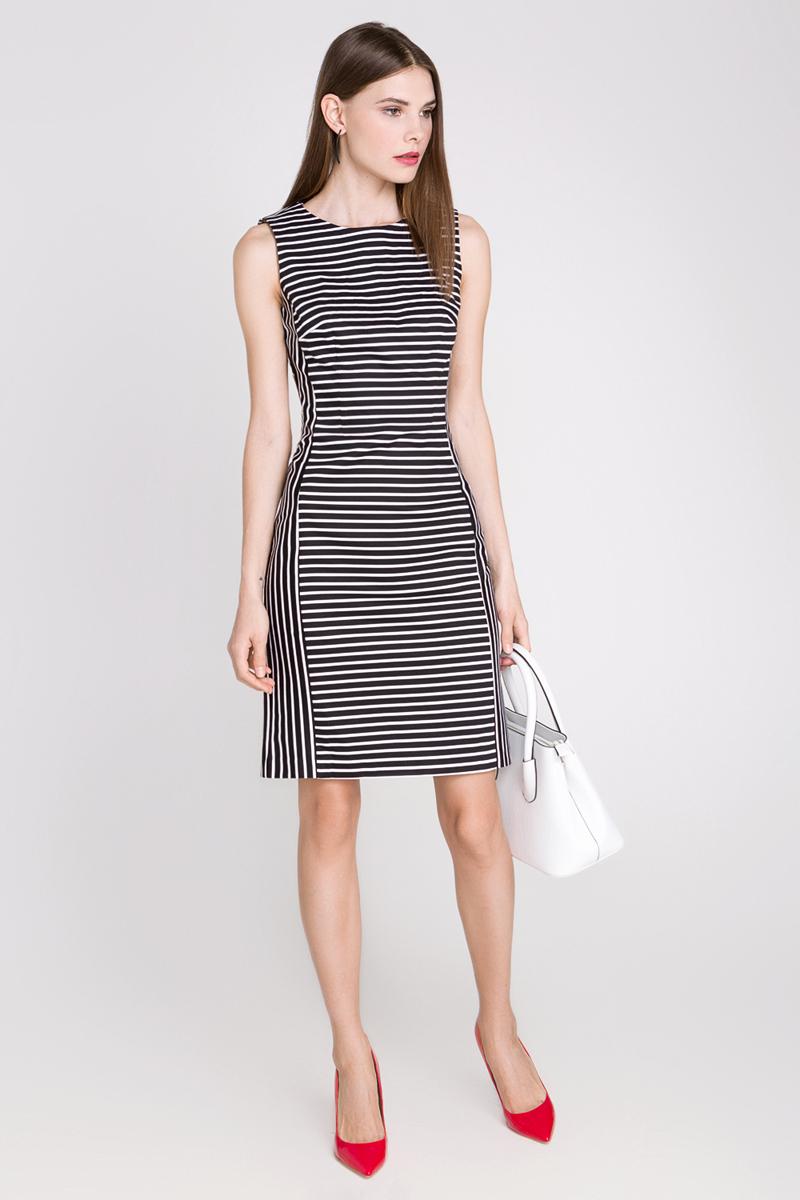 Платье10200200164_3500Платье Concept Club Louis выполнено из хлопка с добавлением эластана. Платье-миди с круглым вырезом горловины застегивается на потайную застежку-молнию расположенную в среднем шве спинки. Сзади расположена шлица. Платье оформлена принтом в полоску.
