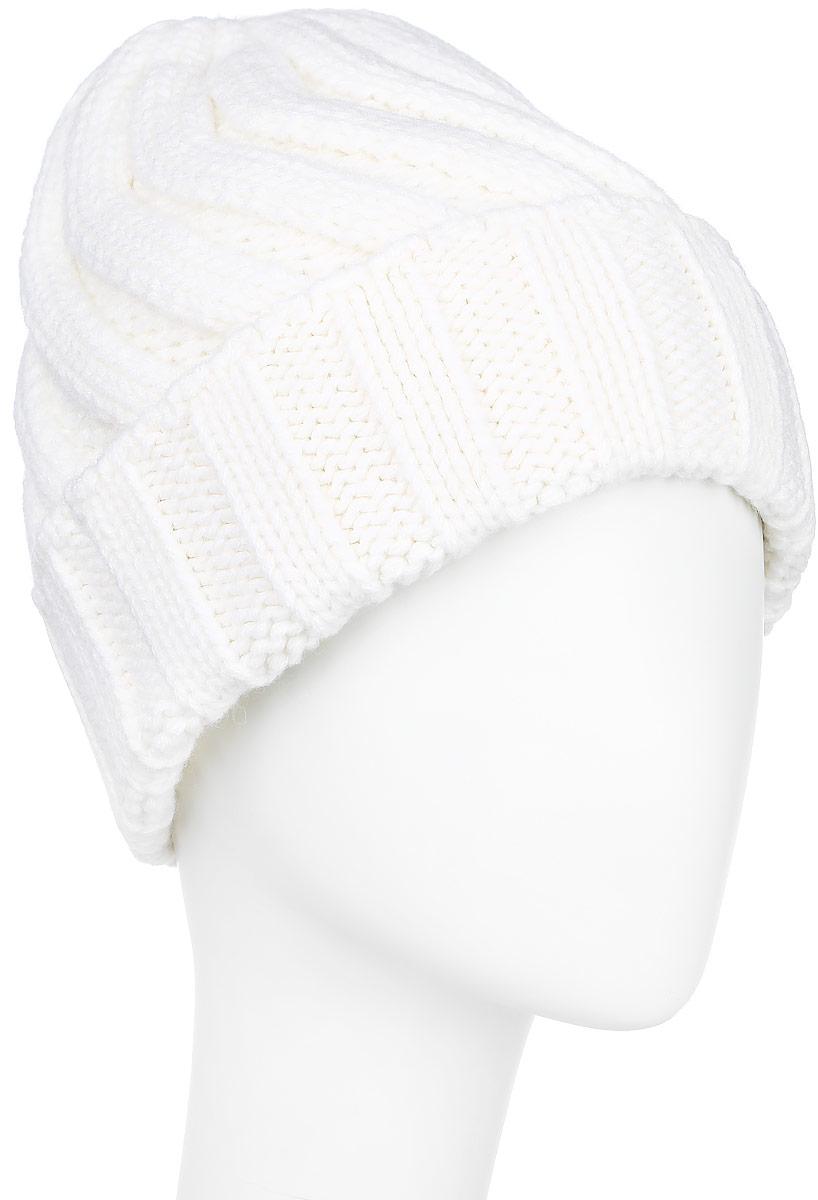 A16-171510_711Вязаная женская шапка Finn Flare с отворотом отлично подойдет для модниц в холодное время года. Она мягкая и приятная на ощупь, обладает хорошими дышащими свойствами и максимально удерживает тепло. Изделие оформлено крупным вязаным узором, а также дополнено небольшой металлической пластиной с названием бренда. Такой стильный и теплый аксессуар подчеркнет ваш образ и индивидуальность. Уважаемые клиенты! Размер, доступный для заказа, является обхватом головы.