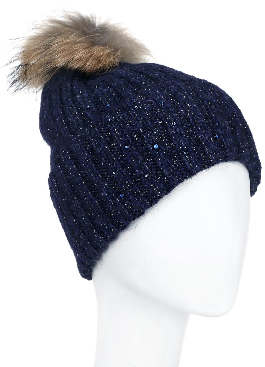 ШапкаA16-11162_101Стильная женская шапка Finn Flare дополнит ваш наряд и не позволит вам замерзнуть в холодное время года. Шапка выполнена из высококачественной комбинированной пряжи, что позволяет ей великолепно сохранять тепло и обеспечивает высокую эластичность и удобство посадки. Модель оформлена стразами и дополнена пушистым помпоном из меха енота. Такая шапка станет модным и стильным дополнением вашего гардероба. Она согреет вас и позволит подчеркнуть свою индивидуальность!