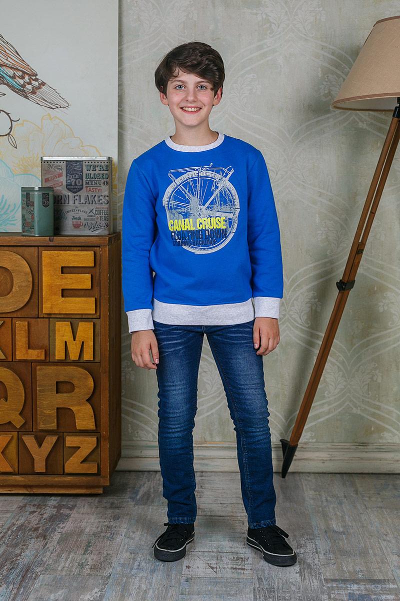 Свитшот206716Свитшот для мальчика Luminoso выполнен из хлопка с добавлением эластана. Модель с круглым вырезом горловины и длинными рукавами оформлена оригинальным принтом.