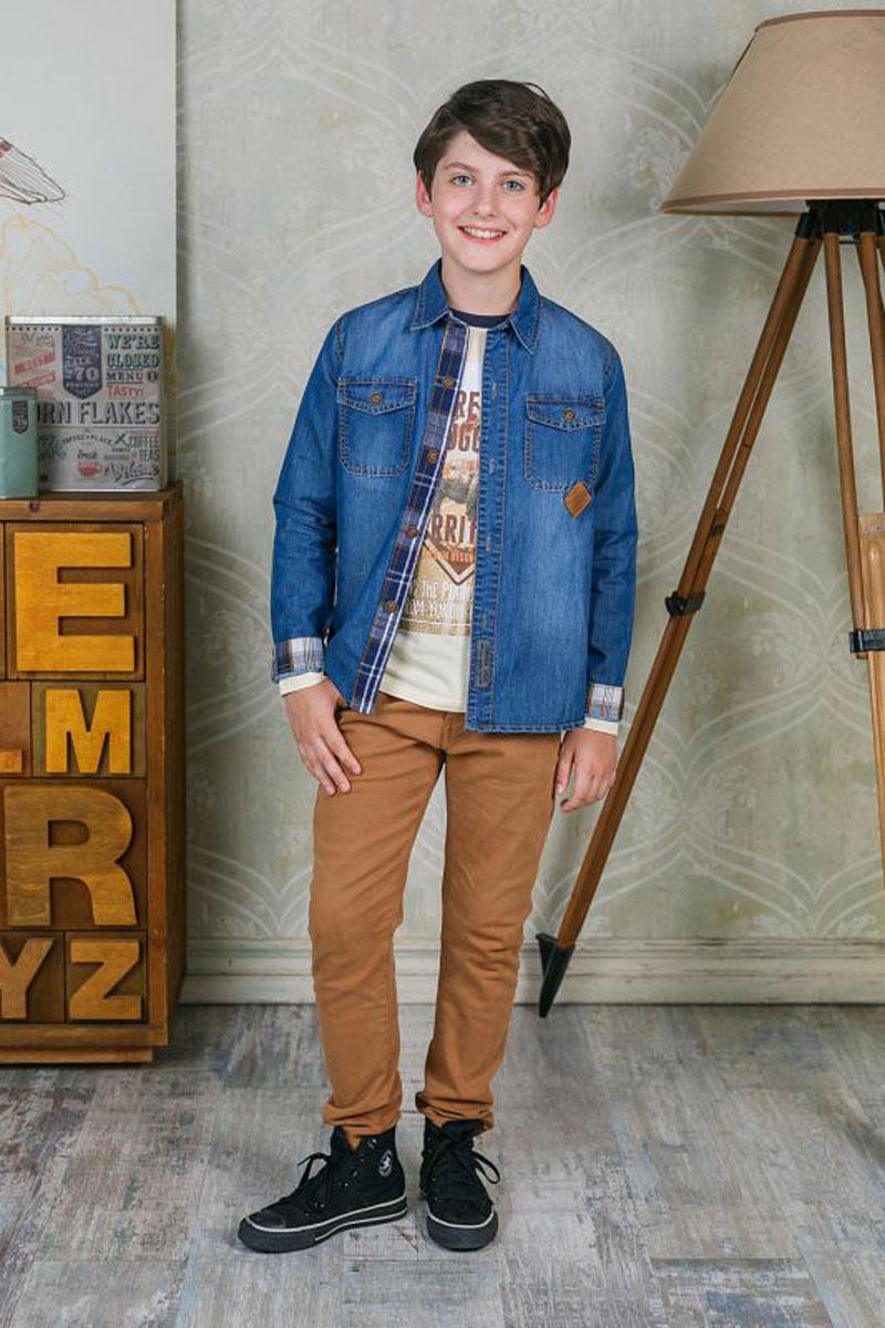 Рубашка206732Рубашка для мальчика Luminoso выполнена из натурального хлопка. Модель с отложным воротником и длинными рукавами застегивается на пуговицы.
