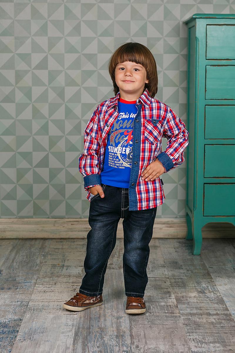 206156Рубашка Sweet Berry для мальчика выполнена из высококачественного материала. Модель классического кроя с длинными рукавами и отложным воротником застегивается на кнопки по всей длине. На манжетах предусмотрены застежки-кнопки. Модель оформлена принтом в клетку и дополнена на груди накладным карманом.