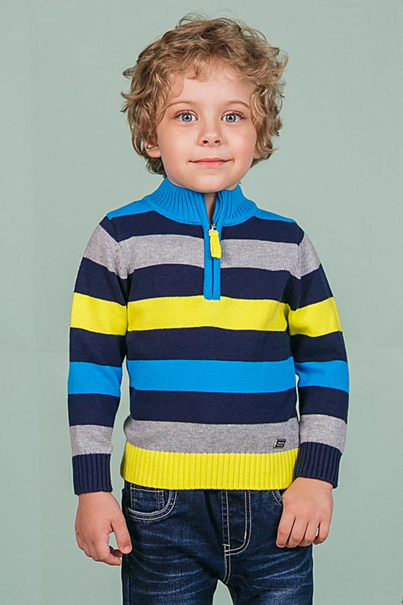 Свитер206104Теплый вязаный свитер Sweet Berry для мальчика идеально подойдет вашему ребенку в прохладные дни. Уютный свитер с длинными рукавами имеет высокий воротник. Сверху застегивается на молнию. Низ рукавов, воротник и низ изделия дополнены вязаной крупной резинкой.