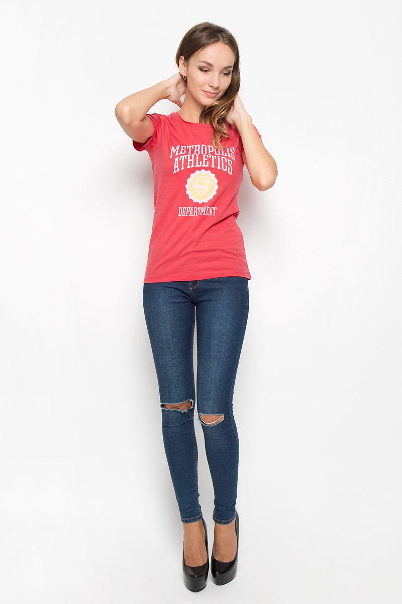 Футболка44415Женская футболка RHS Superman, выполненная из натурального хлопка, поможет создать отличный современный образ в стиле Casual. Футболка с круглым вырезом горловины и короткими рукавами. Модель оформлена термоаппликацией в виде знака супермена и надписью Metropolis Athletics Department. Такая футболка станет стильным дополнением к вашему гардеробу, она подарит вам комфорт в течение всего дня!