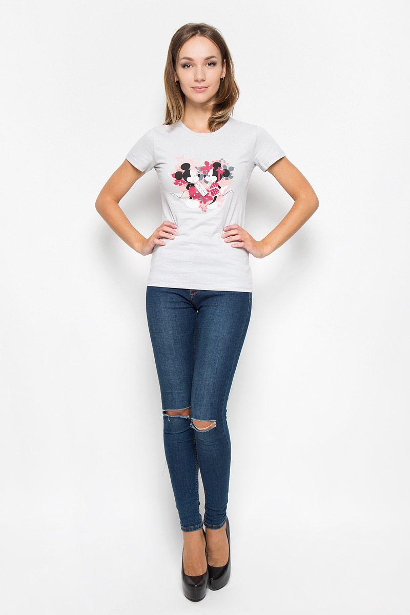 Футболка44440Женская футболка RHS Disney, выполненная из натурального хлопка, поможет создать отличный современный образ в стиле Casual. Футболка с круглым вырезом горловины и короткими рукавами. Модель оформлена принтом с изображением Минни и Микки. Такая футболка станет стильным дополнением к вашему гардеробу, она подарит вам комфорт в течение всего дня!
