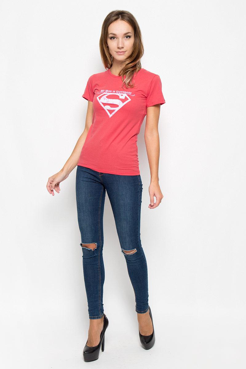 Футболка44425Женская футболка RHS Superman, выполненная из натурального хлопка, поможет создать отличный современный образ в стиле Casual. Футболка с круглым вырезом горловины и короткими рукавами. Модель оформлена принтом в виде знака супермена и надписями на английском языке. Такая футболка станет стильным дополнением к вашему гардеробу, она подарит вам комфорт в течение всего дня!