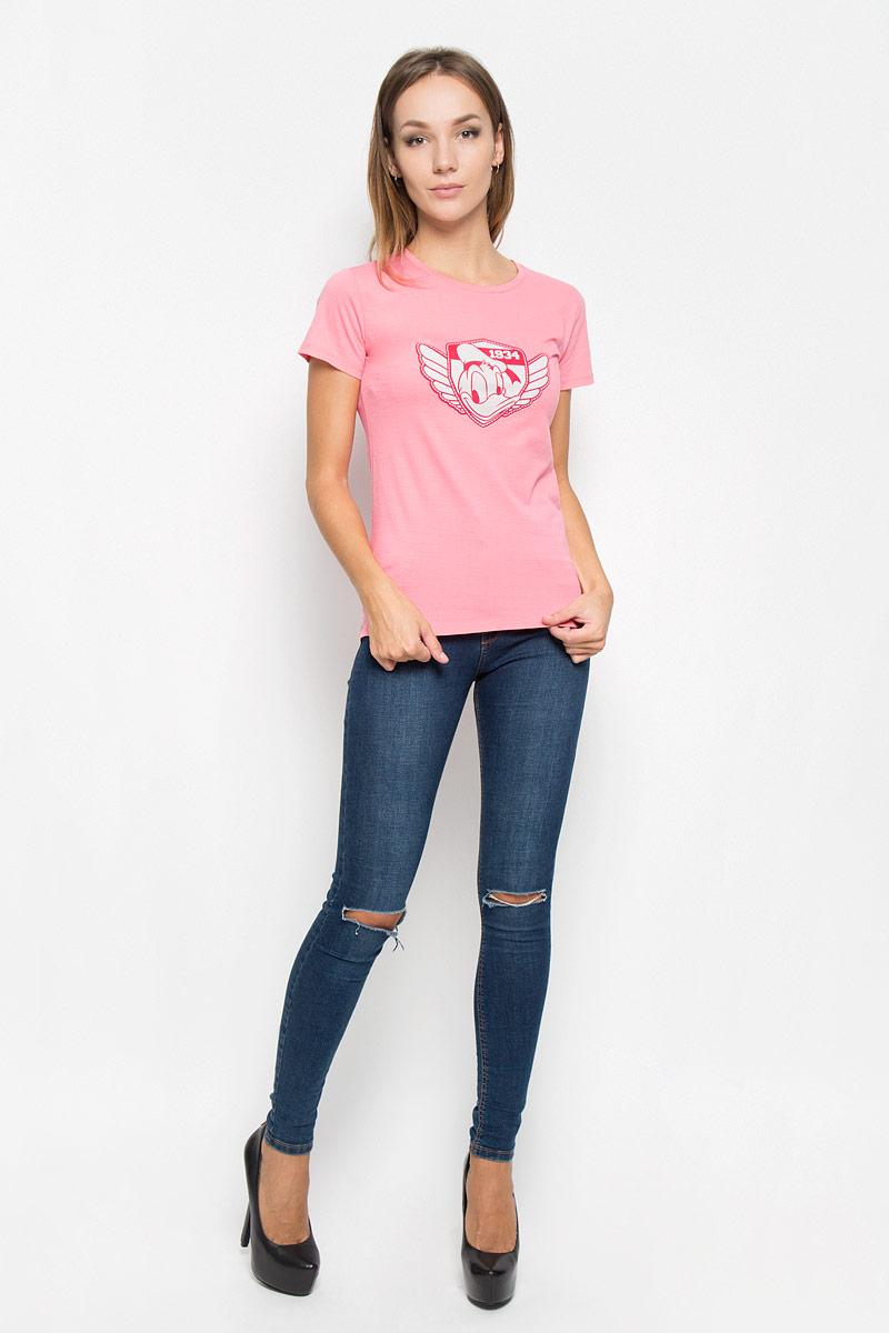 Футболка44395Женская футболка RHS Disney Donald Duck, выполненная из натурального хлопка, поможет создать отличный современный образ в стиле Casual. Футболка с круглым вырезом горловины и короткими рукавами. Модель оформлена принтом в виде Донольда Дака. Такая футболка станет стильным дополнением к вашему гардеробу, она подарит вам комфорт в течение всего дня!