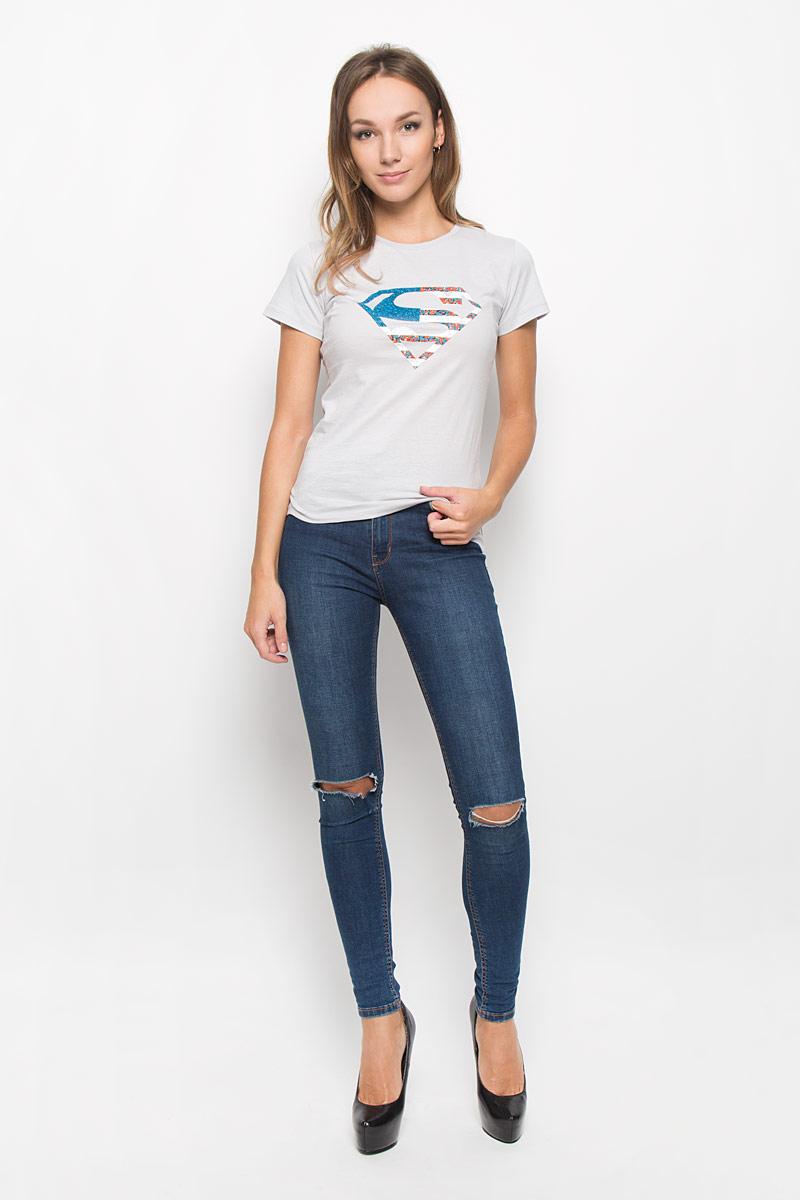 Футболка44420Стильная женская футболка RHS Superman, выполненная из натурального хлопка, поможет создать отличный современный образ в стиле Casual. Футболка с круглым вырезом горловины и короткими рукавами. Модель оформлена термоаппликацией в виде знака супермена. Такая футболка станет стильным дополнением к вашему гардеробу, она подарит вам комфорт в течение всего дня!