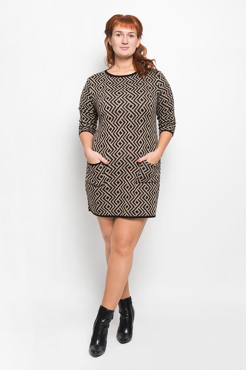 Платье940Элегантное платье Milana Style выполнено из высококачественной комбинированной пряжи. Такое платье обеспечит вам комфорт и удобство при носке и непременно вызовет восхищение у окружающих. Благодаря содержанию ПАН, платье обладает высокой износостойкостью и отлично сидит по фигуре. Платье-миди рукавами длинной 3/4 и круглым вырезом горловины выгодно подчеркнет все достоинства вашей фигуры. Спереди модель дополнена небольшими накладными карманами. Платье оформлено оригинальным геометрическим орнаментом. Изысканное платье-миди создаст обворожительный и неповторимый образ. Это модное и комфортное платье станет превосходным дополнением к вашему гардеробу, оно подарит вам удобство и поможет подчеркнуть ваш вкус и неповторимый стиль.