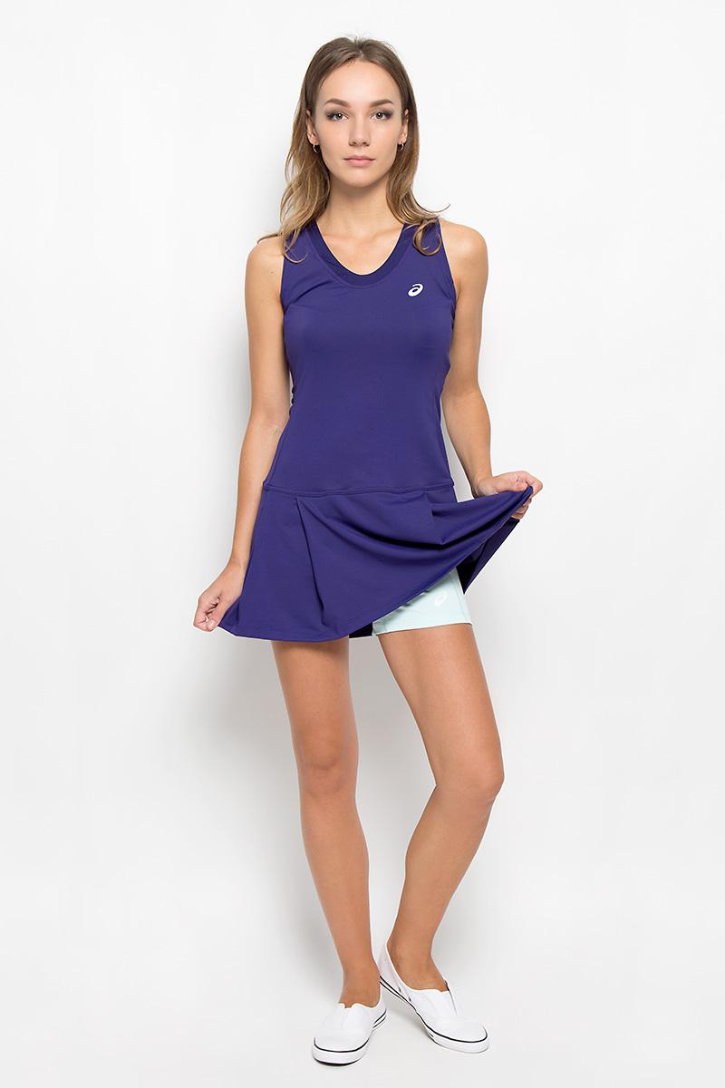 Платье130257-0245Платье для тенниса Asics Club Dress выполненное из полиэстера с добавлением эластана Платье приталенного силуэта, длинной до середины бедра с V- образным вырезом горловины для удобной посадки. Т-образная спина обеспечивает естественность движений во время игры на корте. Модель внизу оформлена оригинальными складками, в комплект к платью входят шорты. Изделие дополнено сетчатыми вставками. Такое платье подарит вам комфорт во время занятий спортом и активного отдыха. Модный дизайн сделает вас запоминающейся на теннисном корте!