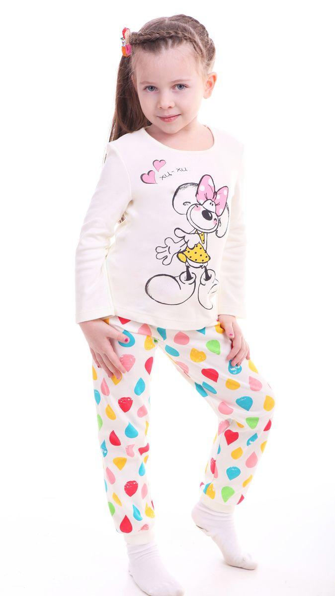 Р217828Красочная пижама для девочки Свiтанак состоит из джемпера с длинными рукавами и брюк. Пижама изготовлена из натурального хлопка, она мягкая, приятная на ощупь, не сковывает движения, не сдавливает в области резинки и не натирает в области швов. Пижама позволяет коже ребенка «дышать». Джемпер с ярким модным и необычным принтом. Брюки имеют мягкую, эластичную резинку, которая не оставляет следов на коже и не стягивает живот ребенка. Яркий и современный дизайн прекрасно дополнят гардероб Вашего ребенка. УВАЖАЕМЫЕ ПОКУПАТЕЛИ! Обращаем ваше внимание – аппликация и расцветка могут отличается от представленного на изображении