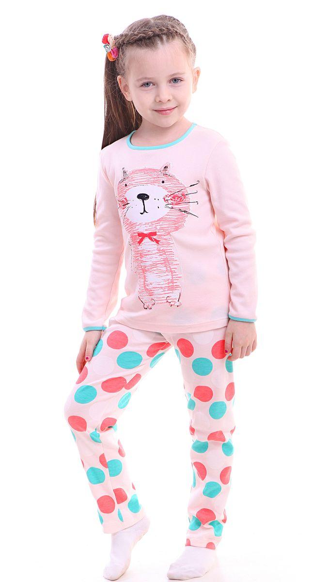 ПижамаР217870Красочная пижама для девочки Свiтанак состоит из джемпера с длинными рукавами и брюк. Пижама изготовлена из натурального хлопка, она мягкая, приятная на ощупь, не сковывает движения, не сдавливает в области резинки и не натирает в области швов. Пижама позволяет коже ребенка «дышать». Джемпер с ярким модным и необычным принтом. Брюки имеют мягкую, эластичную резинку, которая не оставляет следов на коже и не стягивает живот ребенка. Яркий и современный дизайн прекрасно дополнят гардероб Вашего ребенка. УВАЖАЕМЫЕ ПОКУПАТЕЛИ! Обращаем ваше внимание – аппликация и расцветка могут отличается от представленного на изображении