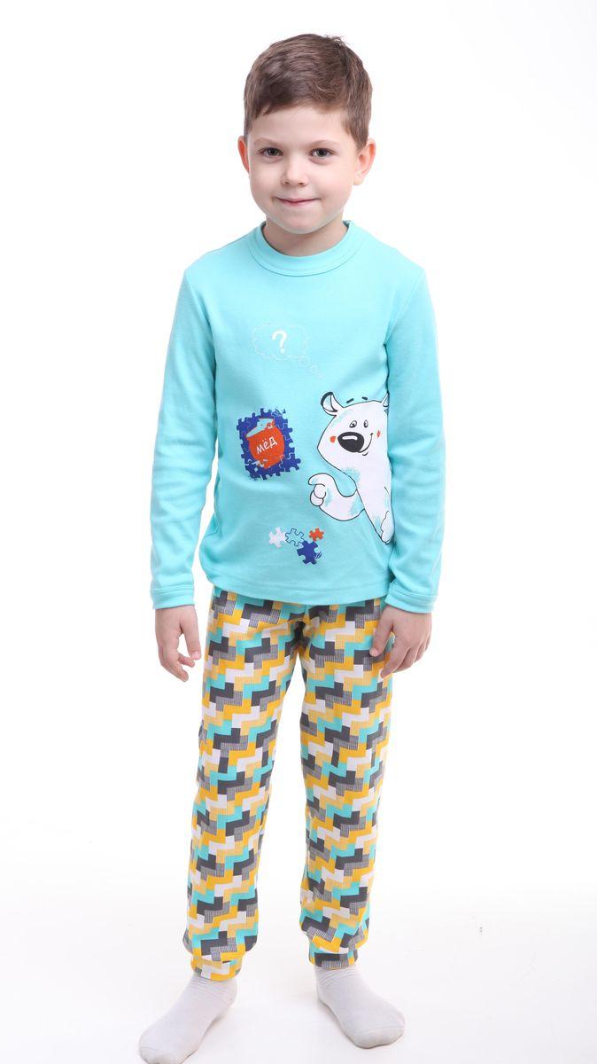 Р218440Красочная пижама для мальчика Свiтанак состоит из джемпера с длинными рукавами и брюк. Пижама изготовлена из натурального хлопка, она мягкая, приятная на ощупь, не сковывает движения, не сдавливает в области резинки и не натирает в области швов. Пижама позволяет коже ребенка «дышать». Джемпер с ярким модным и необычным принтом. Брюки имеют мягкую, эластичную резинку, которая не оставляет следов на коже и не стягивает живот ребенка. Яркий и современный дизайн прекрасно дополнят гардероб Вашего ребенка. УВАЖАЕМЫЕ ПОКУПАТЕЛИ! Обращаем ваше внимание – аппликация и расцветка могут отличается от представленного на изображении
