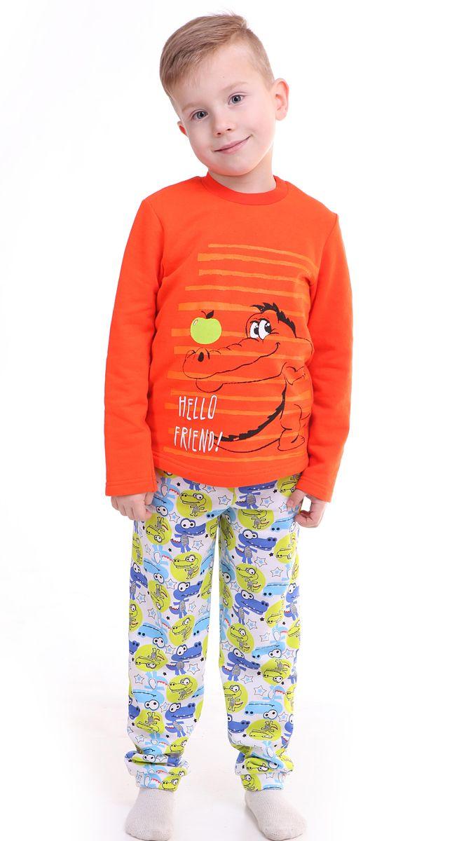 ПижамаР228465Утепленная пижама для мальчика Свiтанак состоит из джемпера с длинными рукавами и брюк. Теплая пижама изготовлена из натурального хлопка, она мягкая, приятная на ощупь, не сковывает движения, не сдавливает в области резинки и не натирает в области швов. Пижама позволяет коже ребенка «дышать». Джемпер с ярким модным и необычным принтом. Брюки имеют мягкую, эластичную резинку, которая не оставляет следов на коже и не стягивает живот ребенка. Яркий и современный дизайн прекрасно дополнят гардероб Вашего ребенка. УВАЖАЕМЫЕ ПОКУПАТЕЛИ! Обращаем ваше внимание – аппликация и расцветка могут отличается от представленного на изображении