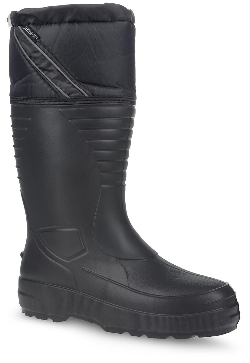 Резиновые сапоги410/НУМужские резиновые сапоги Дюна - идеальная обувь в дождливую погоду. Сапоги выполнены из ЭВА (этиленвинилацетат). Текстильный верх голенища регулируется в объеме за счет эластичного шнурка со стоппером. Модель оснащена съемным текстильным носком, который согреет ваши ноги. Рельефная подошва обеспечивает сцепление с любой поверхностью. В таких резиновых сапогах вашим ногам будет комфортно и сухо.