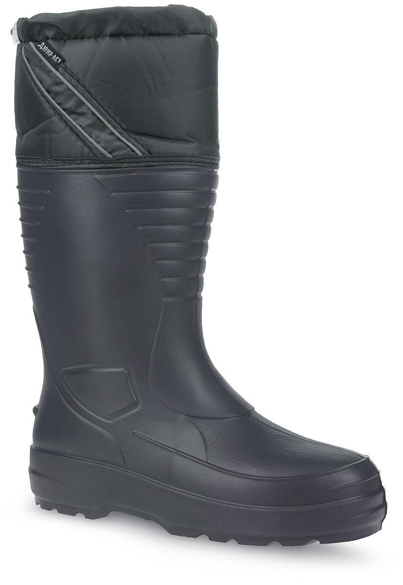 410/НУМужские резиновые сапоги Дюна - идеальная обувь в дождливую погоду. Сапоги выполнены из ЭВА (этиленвинилацетат). Текстильный верх голенища регулируется в объеме за счет эластичного шнурка со стоппером. Модель оснащена съемным текстильным носком, который согреет ваши ноги. Рельефная подошва обеспечивает сцепление с любой поверхностью. В таких резиновых сапогах вашим ногам будет комфортно и сухо.