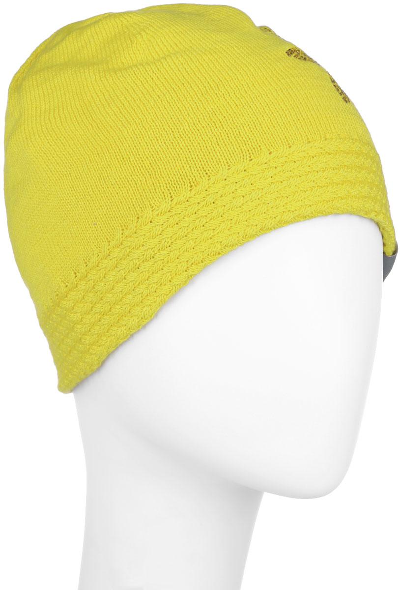 80150000-60020Вязаная шапка для девочки Huppa Eliisa не даст замерзнуть вашему ребенку в прохладную погоду. Изделие изготовлено из теплой шерсти с добавлением акрила, что обеспечивает тепло и комфорт. Благодаря эластичной вязке, шапка идеально прилегает к голове ребенка. Шапка выполнена из мелкой вязки, внизу дополнена вязанной резинкой. Спереди оформлена аппликацией в виде цветочка, выполненной из блестящих страз, так же модель имеет небольшую нашивку с логотипом бренда. Оригинальный дизайн и расцветка делают эту шапку стильным предметом детского гардероба. В ней ребенку будет тепло, уютно и комфортно. Уважаемые клиенты! Размер, доступный для заказа, является обхватом головы.