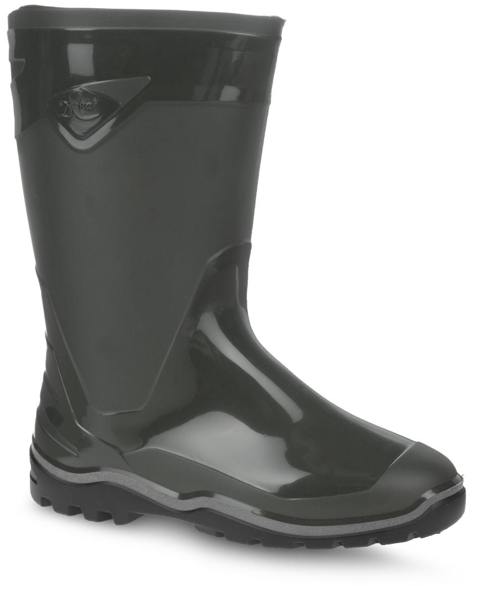 146Мужские резиновые сапоги Дюна - идеальная обувь в дождливую погоду. Сапоги полностью выполнены из ПВХ (поливинилхлорид). Подошва с протектором обеспечивает сцепление с любой поверхностью. В таких резиновых сапогах вашим ногам будет комфортно и уютном.