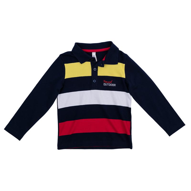 Поло361021Стильная полосатая футболка-поло с длинными рукавами выполнена из мягкого органического хлопка и оформлена нашивкой на полочке. Классический отложной воротничок застегивается на 3 пуговицы.