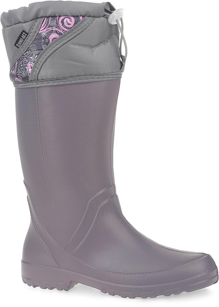 440/НУЖенские резиновые сапоги Дюна - идеальная обувь в дождливую погоду. Сапоги выполнены из ЭВА (этиленвинилацетат). Подкладка, выполненная из текстиля, подарит ощущение комфорта. Текстильный верх голенища регулируется в объеме за счет шнурка со стоппером. Модель оснащена съемным текстильным носком, который согреет ваши ноги. Подошва с протектором предотвращает скольжение. В таких резиновых сапогах вашим ногам будет комфортно и уютно.