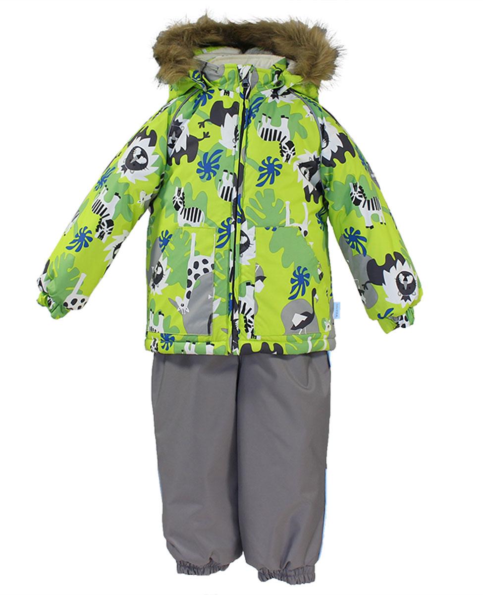 Комплект верхней одежды41780030_63120Теплый комплект одежды Huppa Avery, состоящий из куртки и полукомбинезона, идеально подойдет для малыша в холодное время года. Комплект изготовлен из водоотталкивающей и ветрозащитной ткани. Ткань с обратной стороны покрыта слоем полиуретана с микропорами, который препятствует прохождению воды и ветра, но в то же время позволяет испаряться влаге, выделяемой телом. В качестве наполнителя используется HuppaTerm - высокотехнологичный легкий синтетический утеплитель нового поколения. Уникальная структура микроволокон не позволяет проникнуть внутрь холодному воздуху, в то же время удерживая теплый между волокнами, обеспечивая высокую теплоизоляцию. Подкладка выполнена из мягкой и приятной на ощупь фланелевой ткани. Основные швы проклеены водостойкой лентой. Изделие легко стирается и быстро сохнет. Куртка с капюшоном, воротником-стойкой и рукавами-реглан застегивается на пластиковую молнию с защитой подбородка. Модель дополнительно оснащена внутренней ветрозащитной планкой....