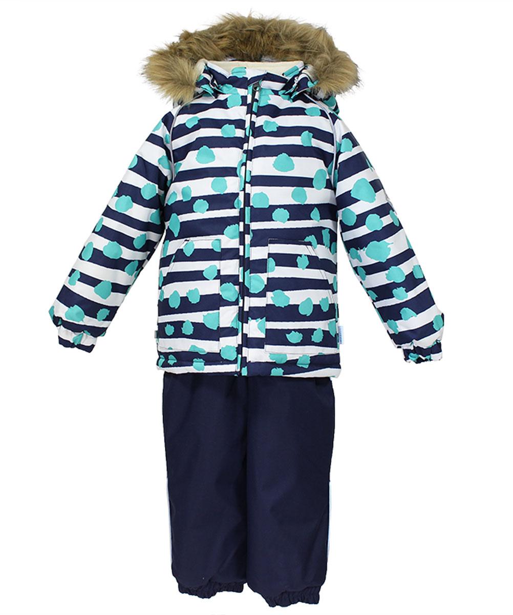 Комплект верхней одежды41780030_63363Теплый комплект одежды Huppa Avery, состоящий из куртки и полукомбинезона, станет замечательным дополнением к детскому гардеробу. Комплект изготовлен из водоотталкивающей и ветрозащитной ткани. Ткань с обратной стороны покрыта слоем полиуретана с микропорами, который препятствует прохождению воды и ветра, но в то же время позволяет испаряться влаге, выделяемой телом. В качестве наполнителя используется HuppaTerm - высокотехнологичный легкий синтетический утеплитель нового поколения. Уникальная структура микроволокон не позволяет проникнуть внутрь холодному воздуху, в то же время удерживая теплый между волокнами, обеспечивая высокую теплоизоляцию. Подкладка выполнена из мягкой и приятной на ощупь фланелевой ткани. Основные швы проклеены водостойкой лентой. Изделие легко стирается и быстро сохнет. Куртка с капюшоном, воротником-стойкой и рукавами-реглан застегивается на пластиковую молнию с защитой подбородка. Модель дополнительно оснащена внутренней ветрозащитной...