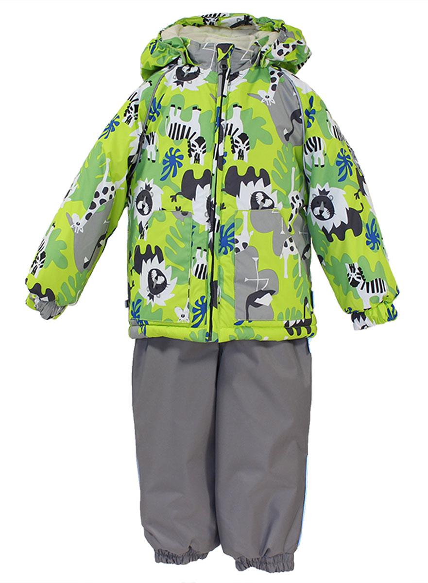 Комплект верхней одежды41780130_63120Теплый комплект одежды Huppa Avery1, состоящий из куртки и полукомбинезона, станет отличным дополнением к детскому гардеробу. Комплект изготовлен из водоотталкивающей и ветрозащитной ткани. Ткань с обратной стороны покрыта слоем полиуретана с микропорами, который препятствует прохождению воды и ветра, но в то же время позволяет испаряться влаге, выделяемой телом. В качестве наполнителя используется HuppaTerm - высокотехнологичный легкий синтетический утеплитель нового поколения. Уникальная структура микроволокон не позволяет проникнуть внутрь холодному воздуху, в то же время удерживая теплый между волокнами, обеспечивая высокую теплоизоляцию. Подкладка выполнена из мягкой и приятной на ощупь фланелевой ткани. Основные швы проклеены водостойкой лентой. Изделие легко стирается и быстро сохнет. Куртка с капюшоном, воротником-стойкой и рукавами-реглан застегивается на пластиковую молнию с защитой подбородка. Модель дополнительно оснащена внутренней ветрозащитной...