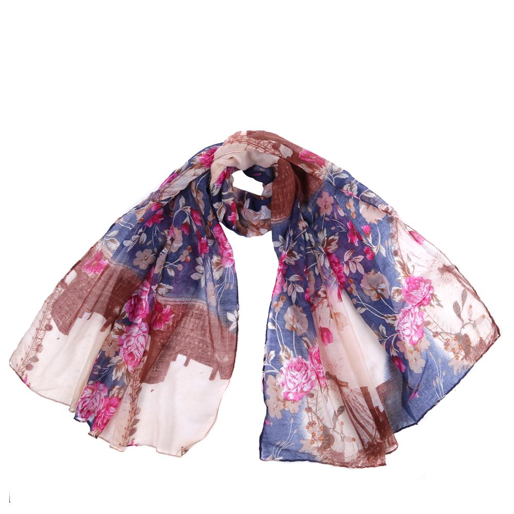 ШарфSR12754-1Стильный шарф поможет внести живость в любой образ, подарит уют и согреет от холодного ветра. Выполнен из высококачественного материала и оформлен цветочным принтом.