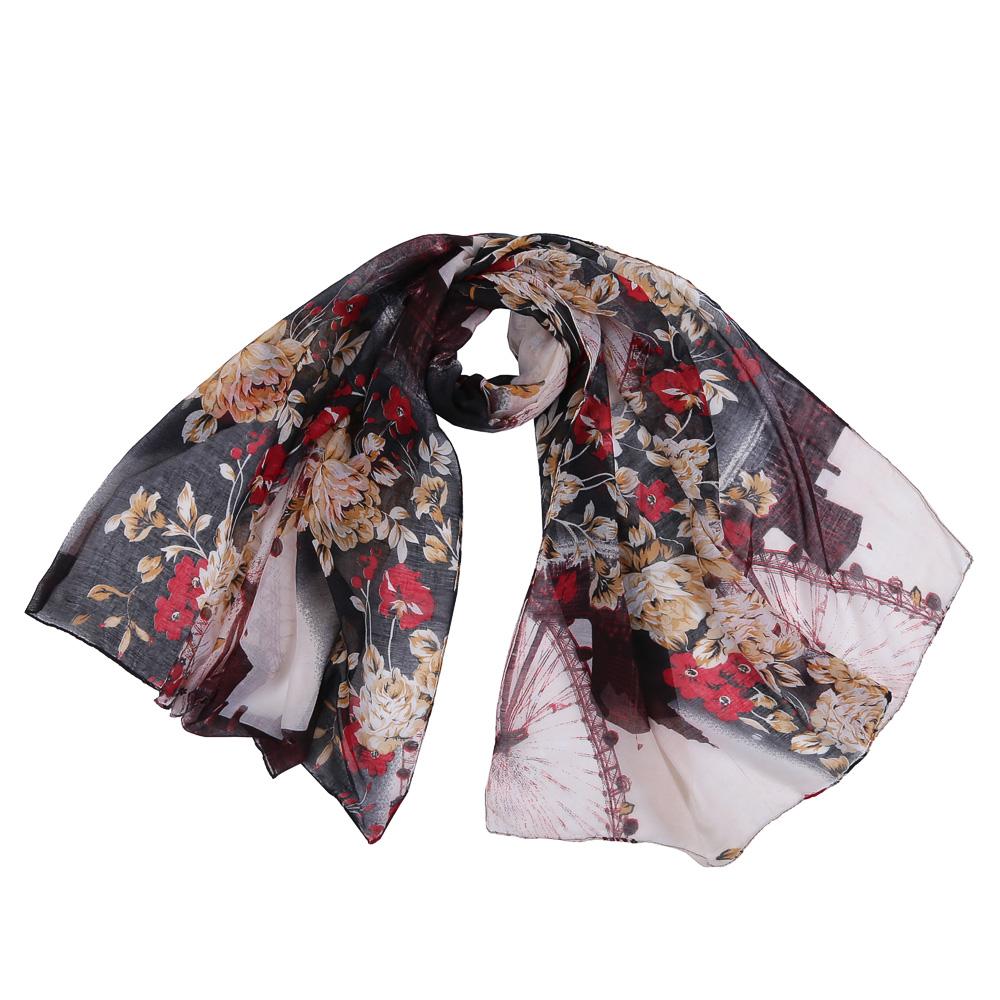 SR12754-1Стильный шарф поможет внести живость в любой образ, подарит уют и согреет от холодного ветра. Выполнен из высококачественного материала и оформлен цветочным принтом.