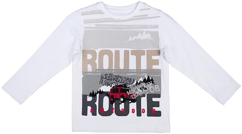361024Мягкая хлопковая футболка с длинными рукавами. Украшена стильной комбинацией водного и резинового принтов. Воротник на трикотажной резинке.