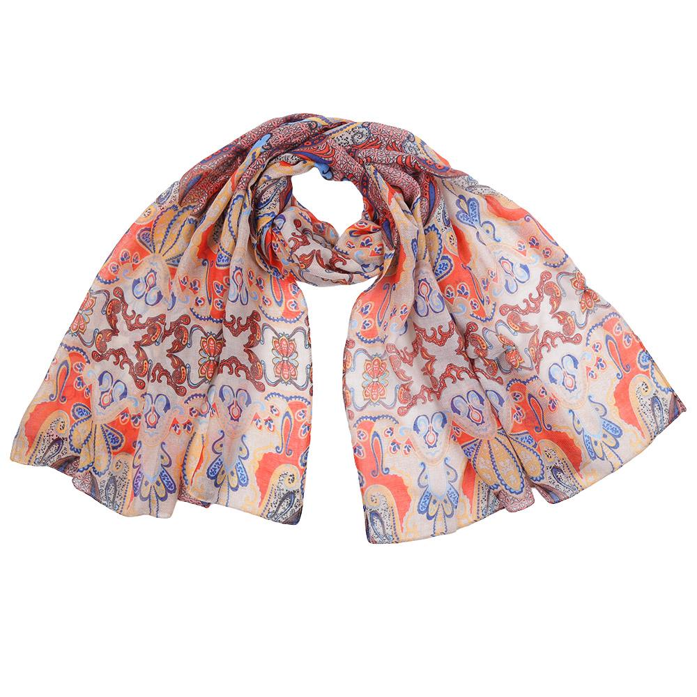 151559-1Стильный шарф поможет внести живость в любой образ, подарит уют и согреет от холодного ветра. Выполнен из высококачественного материала и оформлен оригинальным принтом.
