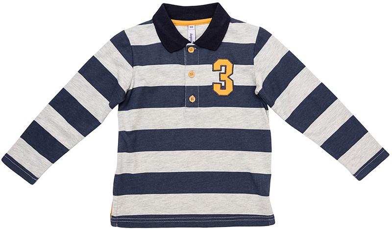 Поло361081Стильная полосатая футболка-поло с длинными рукавами выполнена из мягкого органического хлопка и оформлена нашивкой на полочке. Классический отложной воротничок застегивается на 3 пуговицы. Универсальный цвет позволяет сочетать модель с любой одеждой.