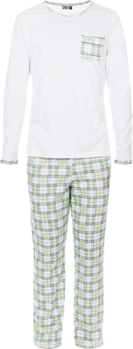 ПижамаRAV04-006Мужская пижама RAV включает в себя лонгслив и свободные прямые брюки. Изготовленная из натурального хлопка, пижама приятна на ощупь, не сковывает движения и позволяет коже дышать, обеспечивая комфорт. Лонгслив с длинными рукавами и круглым вырезом горловины дополнен накладным нагрудным карманом. Брюки свободного кроя с широкой эластичной резинкой в поясе украшены принтом в клетку. . В такой пижаме вам будет максимально комфортно и уютно.