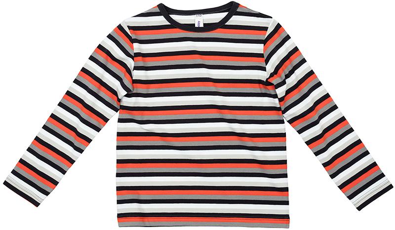 361122Уютная хлопковая футболка с длинными рукавами. Ткань в полоску не принтованная, а пестровязанная: сохранит цвет при частых стирках. На воротнике мягкая эластичная бейка.