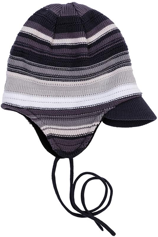 361129Теплая шапка из вязаного трикотажа в разнокалиберную полоску. Козырек надежно защитит от снега, удобные завязки. Внутри уютная флисовая подкладка.