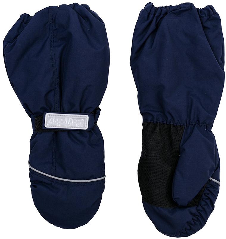 Варежки детские361134Стильные рукавицы темно-синего цвета. Запястье и верх на резинке. Усиленный антискользящий материал на ладошках, есть светоотражатели и крепления для куртки.