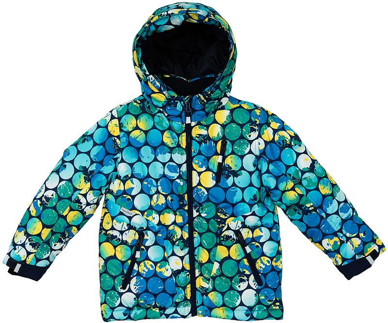 361152Мягкая и теплая стеганая куртка. Внутри уютная флисовая подкладка. Украшена ярким стильным принтом с неоновым эффектом. Застегивается на молнию с защитой подбородка, есть внутренняя ветрозащитная планка. Внизу есть специальная вставка на резинке, пристегнув которую вы надежно защитите малыша от снега. Капюшон утягивается стопперами, есть два кармана на молнии. На рукавах дополнительные трикотажные манжеты-полуварежки с отверстием для большого пальца, которые обеспечивают защиту от ветра и снега.