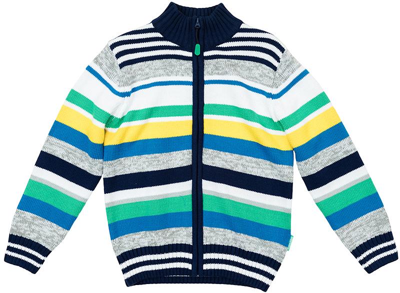 Кардиган361157Уютный свитер из вязаного трикотажа. Стильный рисунок в разнокалиберную полоску. Воротник, рукава и низ на мягкой вязаной резинке. Высокий воротник-стойка защитит от ветра. Застегивается на молнию.