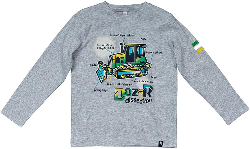 361169Мягкая хлопковая футболка с длинными рукавами. Украшена стильным резиновым принтом, на воротнике трикотажная резинка. Универсальный цвет серый меланж позволяет сочетать ее с любой одеждой.