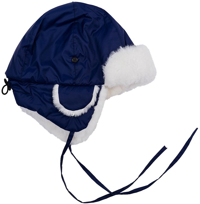 361179Теплая шапка из непромокаемой плащевки. Отделка из искусственного меха, внутри уютная флисовая подкладка.