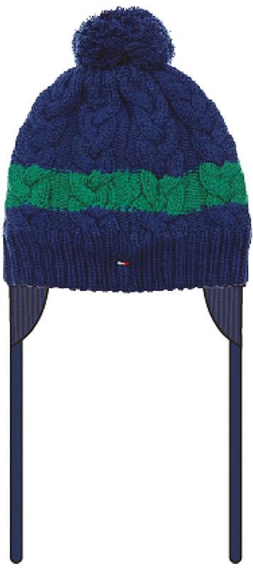 361182Уютная вязаная шапочка темно-синего цвета. Украшена фактурной вязкой, забавным помпоном и яркой зеленой полосой. Удобные завязки.