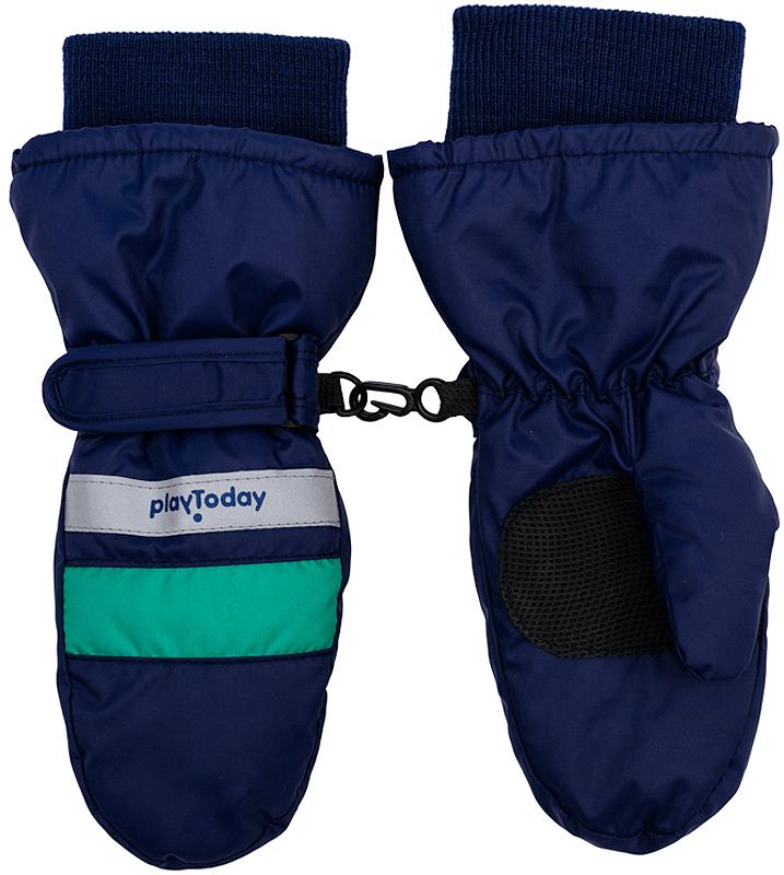 Варежки детские361184Стильные рукавицы темно-синего цвета. Запястье и верх на резинке. Усиленный антискользящий материал на ладошках, есть светоотражатели и крепления для куртки.