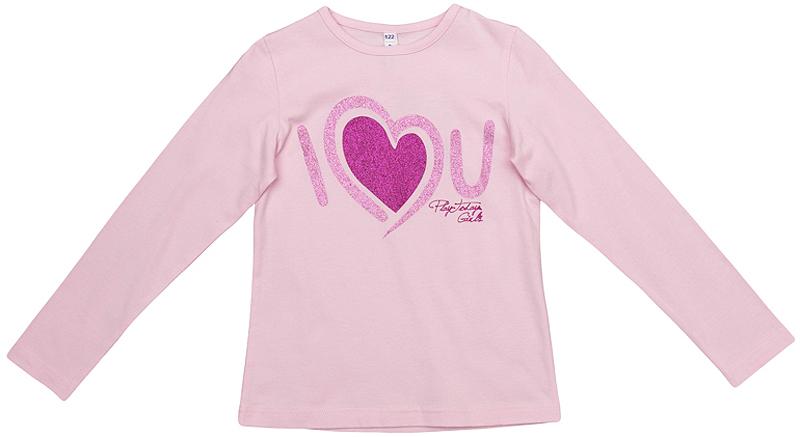 362068Уютная хлопковая футболка с длинными рукавами. Украшена милым принтом и сверкающим глиттером.