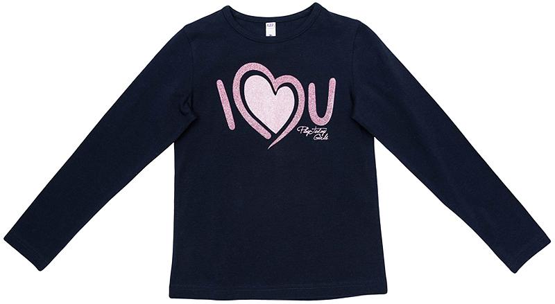362069Уютная хлопковая футболка с длинными рукавами. Украшена милым принтом и сверкающим глиттером.