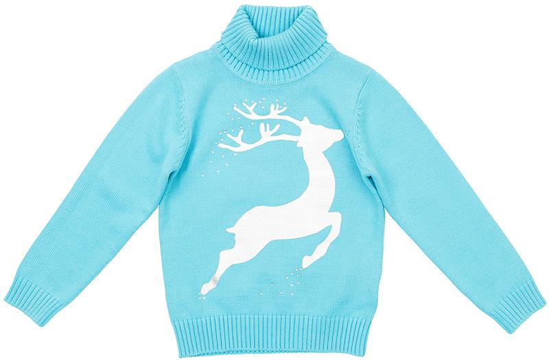 Джемпер362105Уютный яркий свитер с оленем, о котором все мечтают. Украшен сверкающими стразами и фольгированным принтом. Высокий воротник защитит от ветра, рукава и низ на мягкой вязаной резинке.