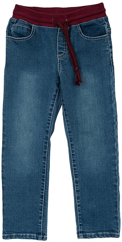 362110Хлопковые джинсы прямого кроя. Пояс на трикотажной резинке бордового цвета, чтобы ребенок не тратил время на неудобные застежки и легко одевался сам. Дополнительно регулируется шнурком для идеальной посадки по фигуре. Есть четыре функциональных кармана.