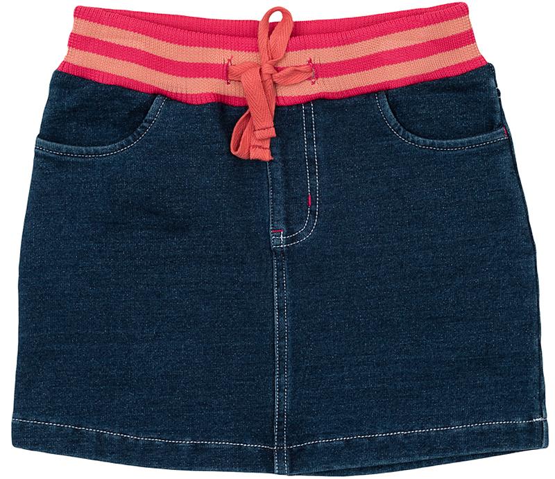 362117Стильная юбка из футера с имитацией денима. Пояс на мягкой трикотажной резинке, дополнительно регулируется тесьмой.