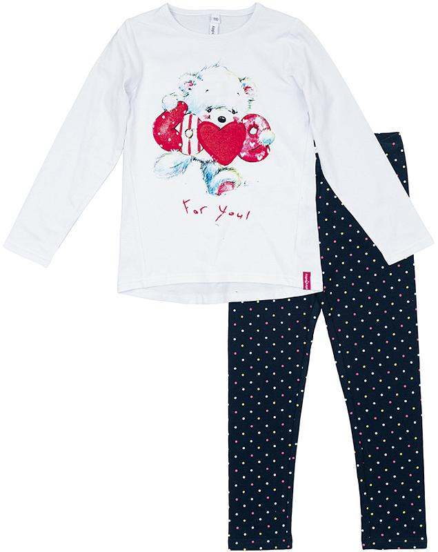 Комплект одежды362123Уютный хлопковый комплект из футболки с длинными рукавами и леггинсов. Футболка украшена нежным водным принтом с медвежонком. Леггинсы украшены узором в мелкий горошек, пояс на мягкой резинке.