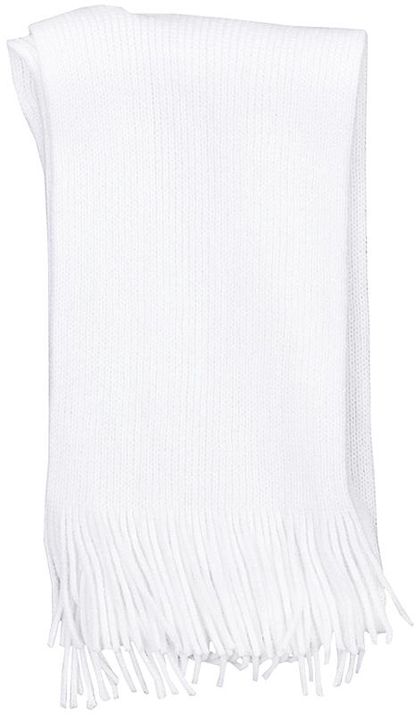 362137Уютный белый шарф из вязаного трикотажа.