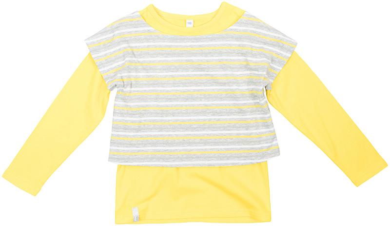 362163Стильная желтая футболка. Состоит из двух моделей - яркой однотонной футболки с длинными рукавами и полосатого топа. Можно носить по отдельности или вместе, создавая стильные сочетания.